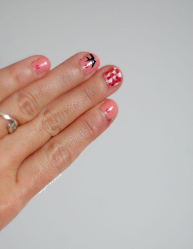 nail art pois et oiseau 2