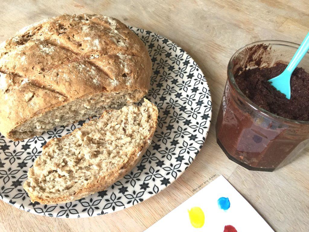 On a fait du pain maison et de la pâte à tartiner maison également !
